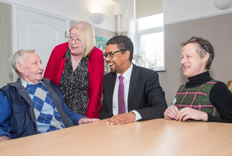Health Minister Vaughan Gethyng has visited St Kentigern Hopsice in St Asaph. The minister and local AM Ann Jones with Dinah Hickish, consultant Nurse and patient Colin Eagles
