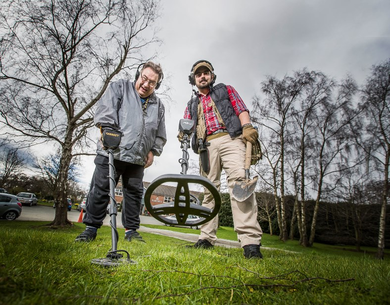 Senior Care Practitioner Lee Swallow at Bodlonden, Pendine Park has introduced residents to metal detecting within the grounds of the Summerhill site. Lee is pictured with resident Gary Cobb