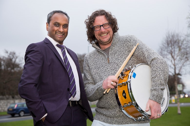 Spire Yale ......Pictured are Prash Jesudason, hand and arm surgeon  and drummer Mark Thompson