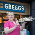 The Manger at Greggs in Eagles Meadow in Wrexham has lost 5 stone weight lifting and is aiming to lose more and participate in weight lifting competitions. Pictured: Nerys Jones outside the store where she works