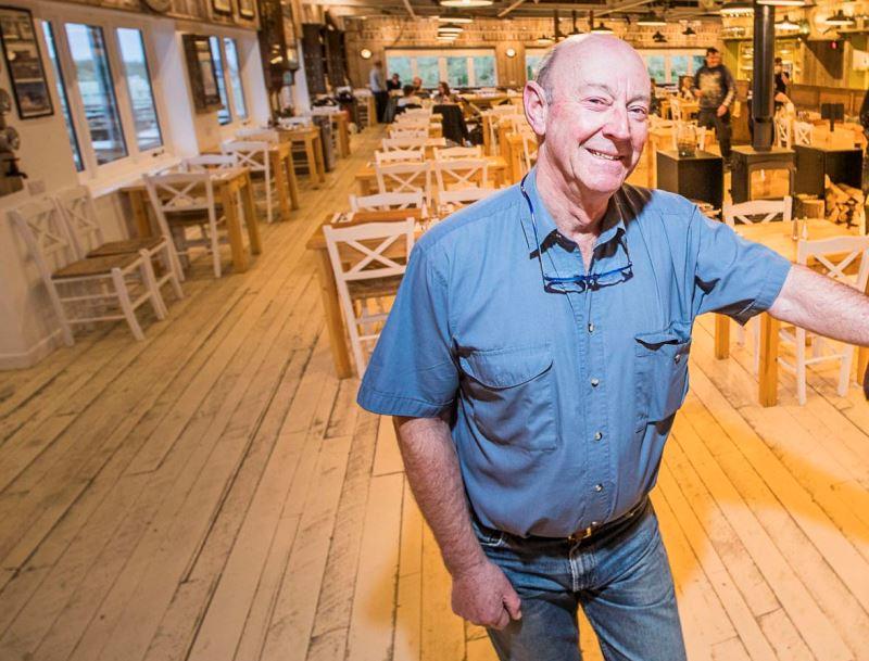 Sea Shanty Cafe, Treardur Bay. Managing Director Neil Gitton with Phil Brown, right