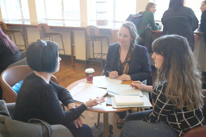Jess Achilleos (right) and Hayley Douglas (centre) with Ann Lyn Robinson, youth work strategy manager for Welsh Government