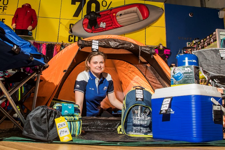 Eagles Meadow Trespass outdoor store - new manager Claire Vinall.  In her spare time she enjoys camping and caneoeing
